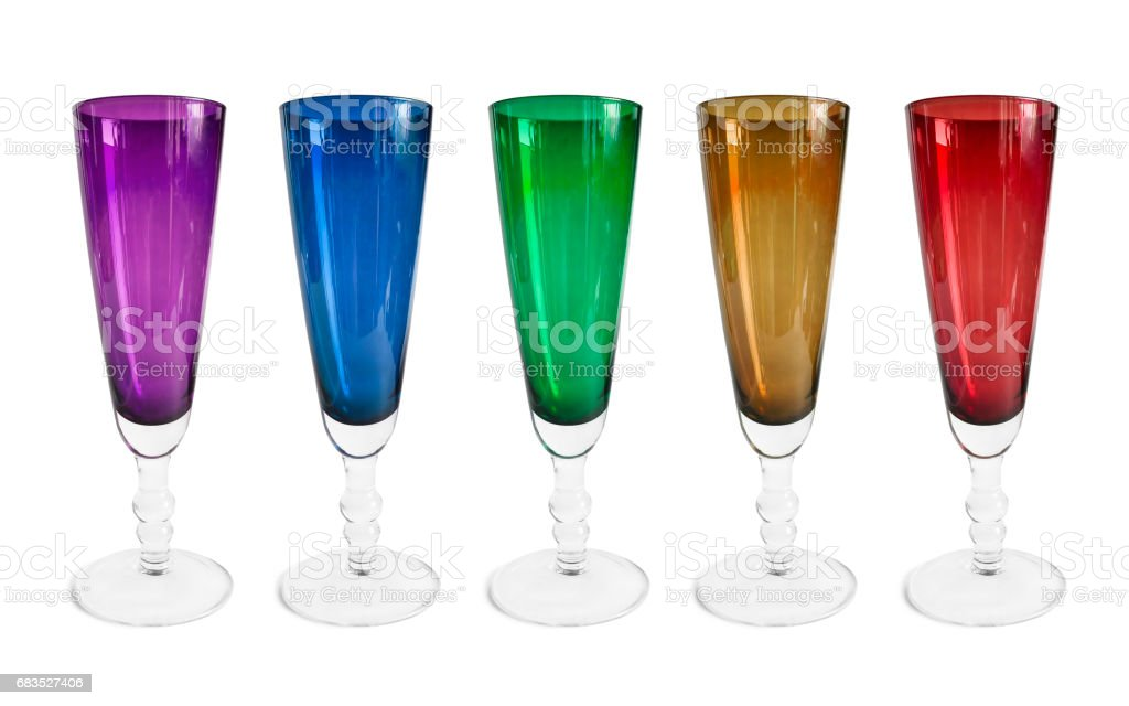 Colorful wineglasses isolated stock photo