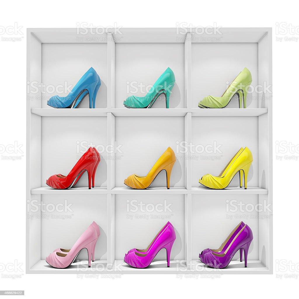 colorful women stiletto heel shoes stock photo