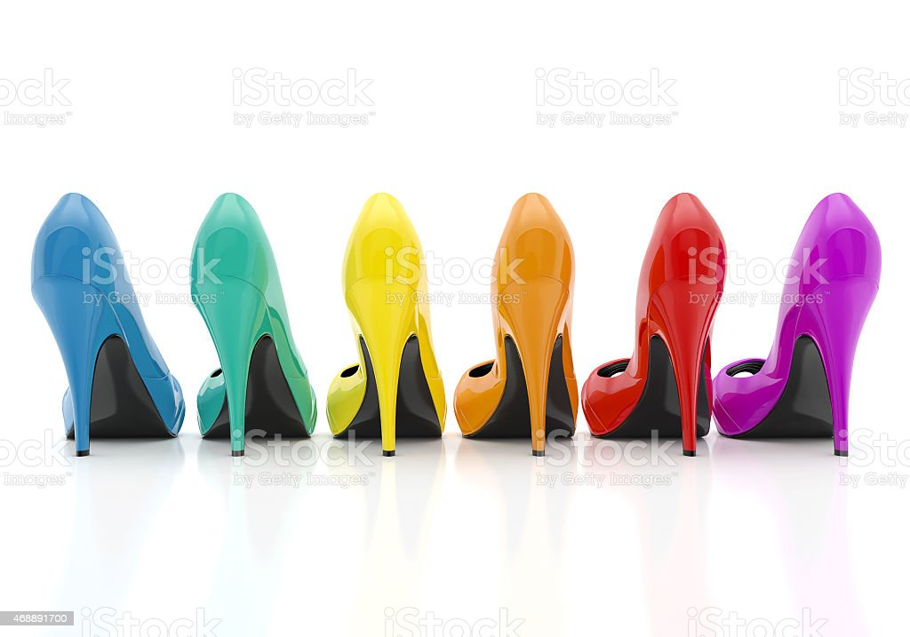 colorful women stiletto heel shoes stock photo