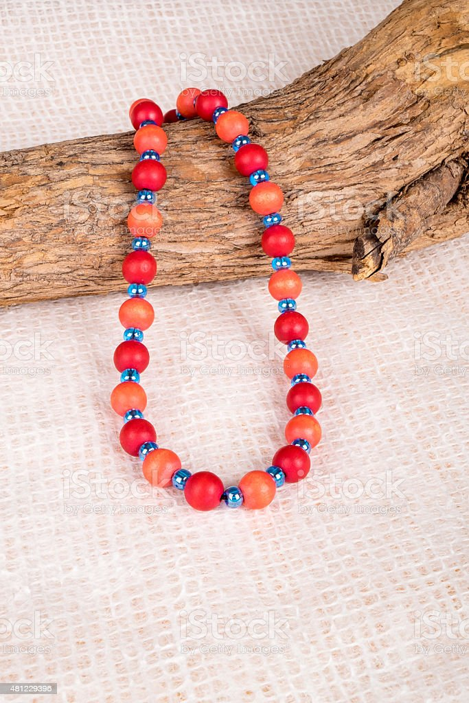 Colorful Wood Beads Necklace Displayed Over a Dead Tree Branch stock photo