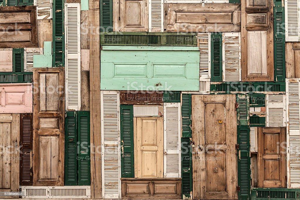 Colorful Wood Doors stock photo