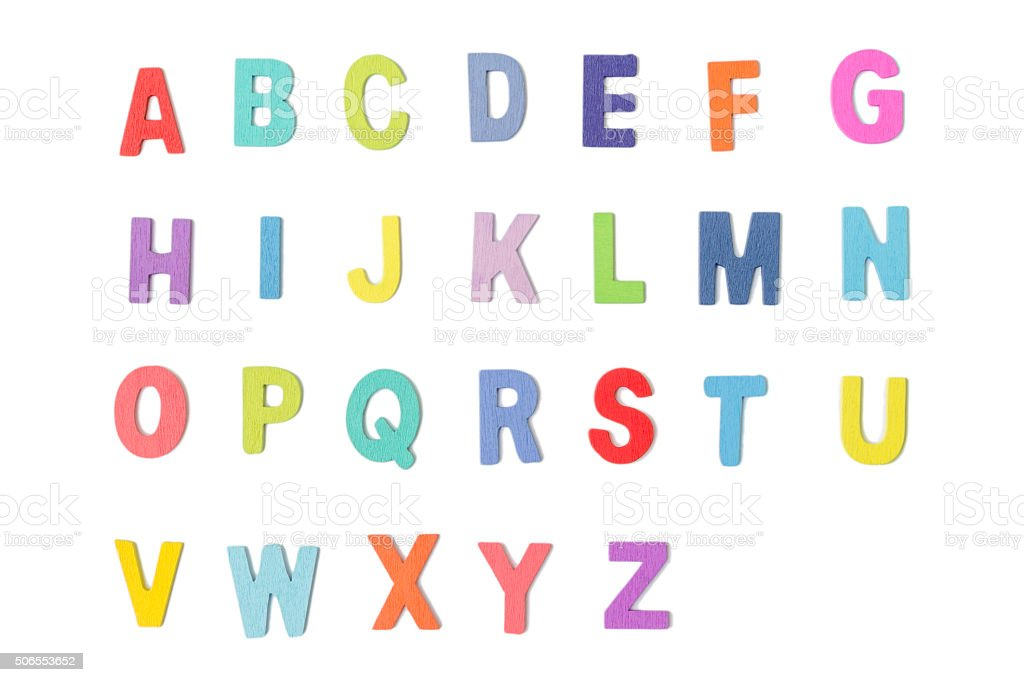 Colorful wooden alphabet letters  isolated on white background stock photo