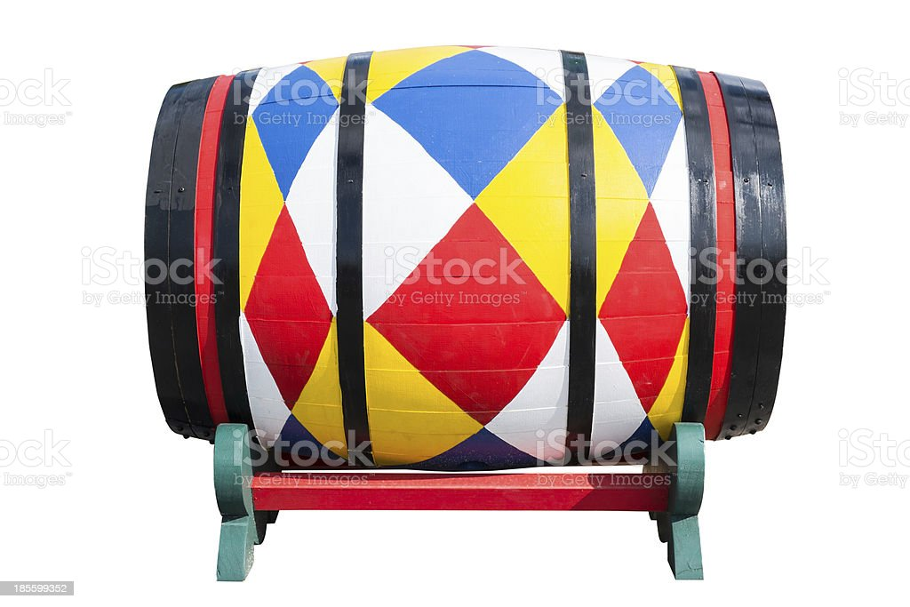 Colorful wooden barrel isolated on white background royalty-free stock photo
