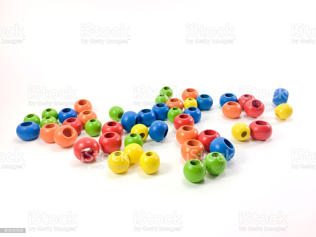 Colorful wooden beads. stock photo