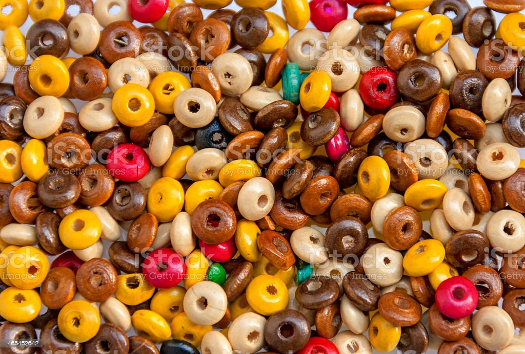 Colorful wooden beads small royalty-free stock photo