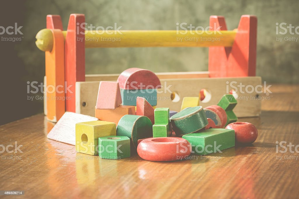 Colorful wooden blocks toy stock photo