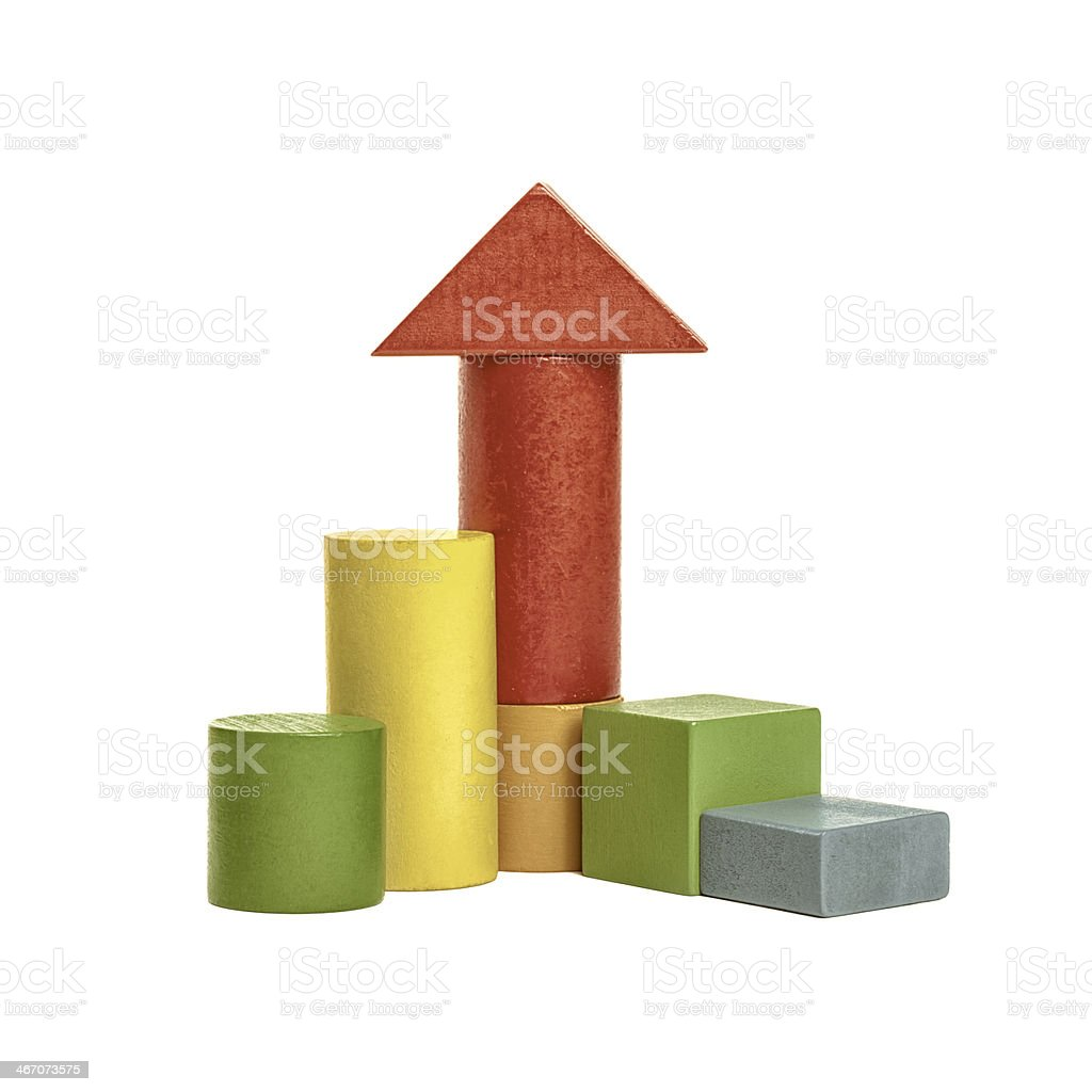 Colorful wooden building blocks isolated  with clipped path stock photo