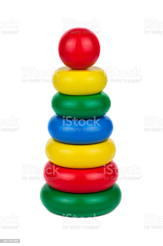 colorful wooden children's pyramid stock photo