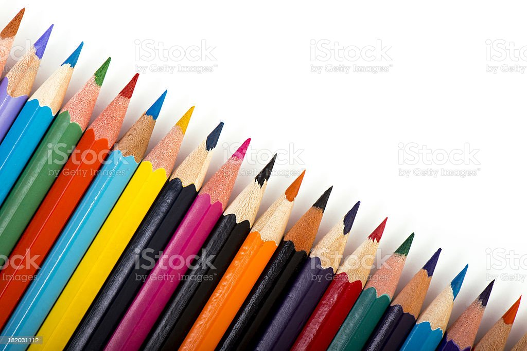 colorful wooden crayons royalty-free stock photo