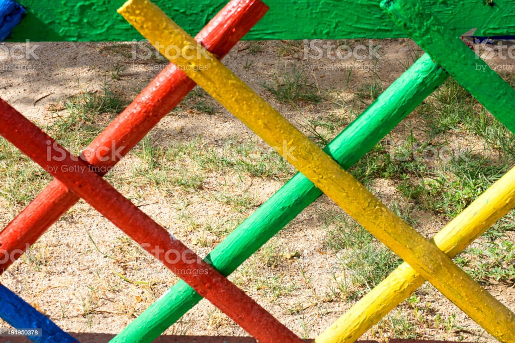 Colorful wooden fence stock photo
