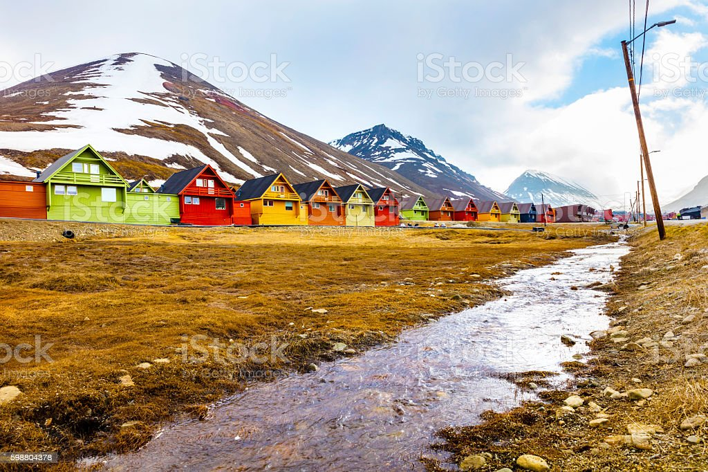 Colorful wooden houses at Longyearbyen in Svalbard stock photo