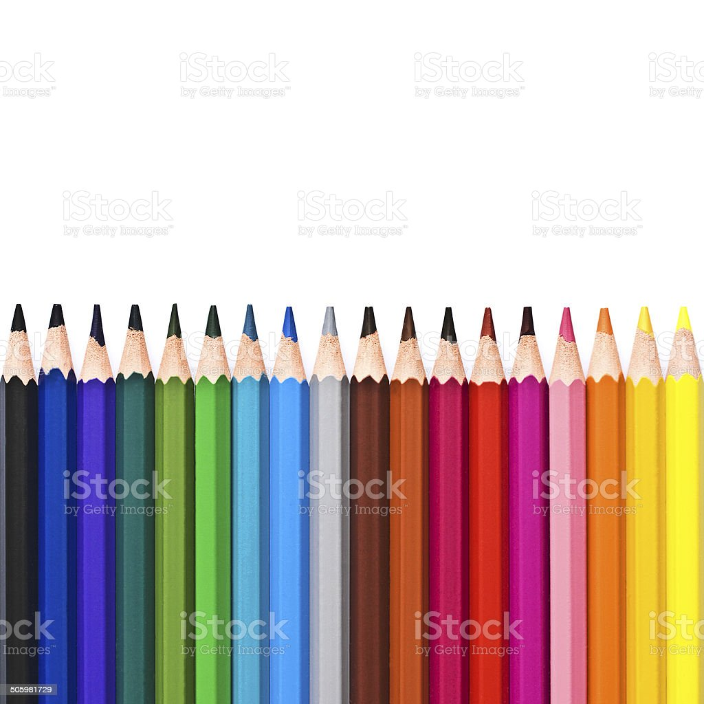 Colorful wooden pencils isolated on white background stock photo