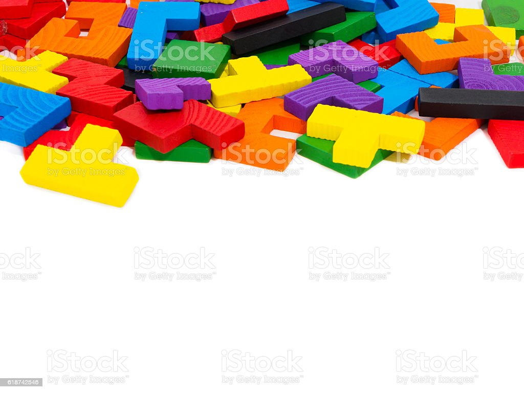 colorful wooden puzzle for kid on white background stock photo