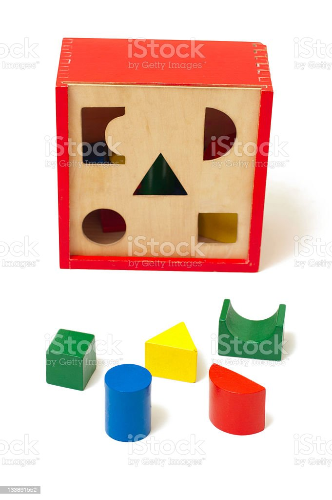 Colorful wooden toys for developing of baby logic royalty-free stock photo