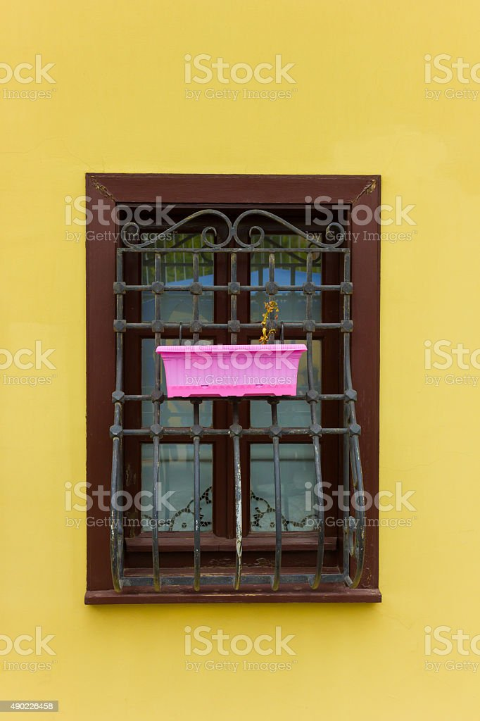 colorful wooden windows stock photo