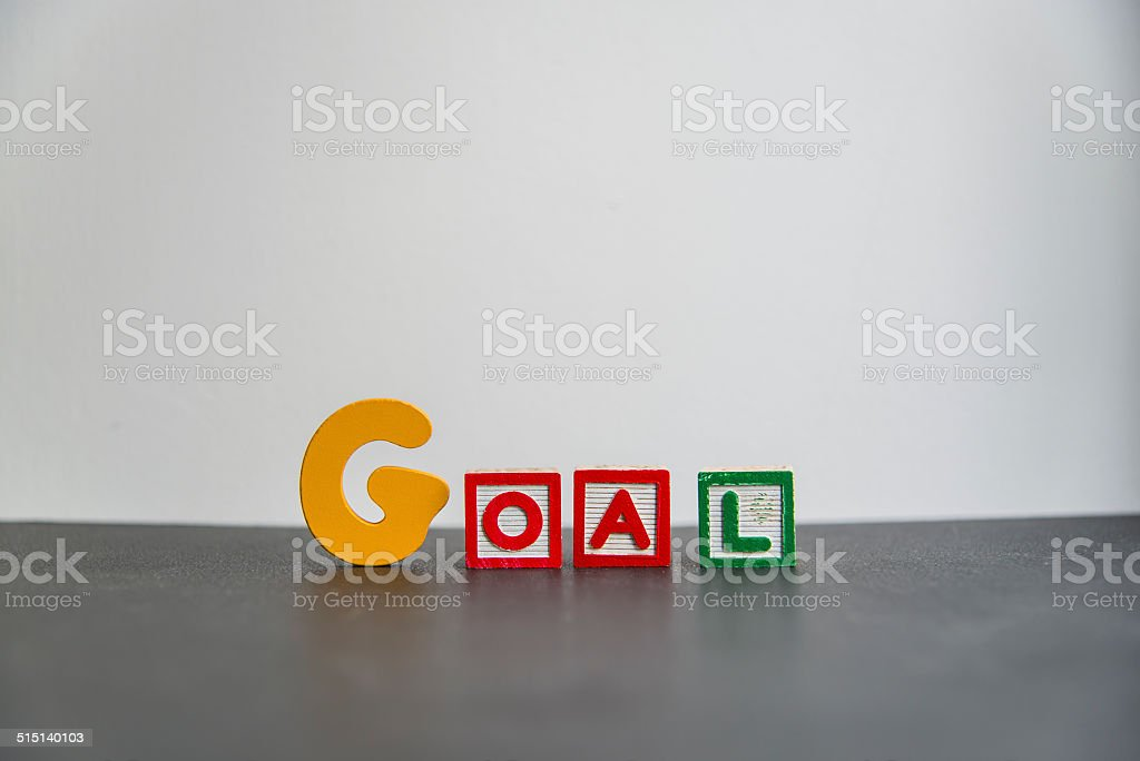 Colorful Wooden word goal with white background1 stock photo