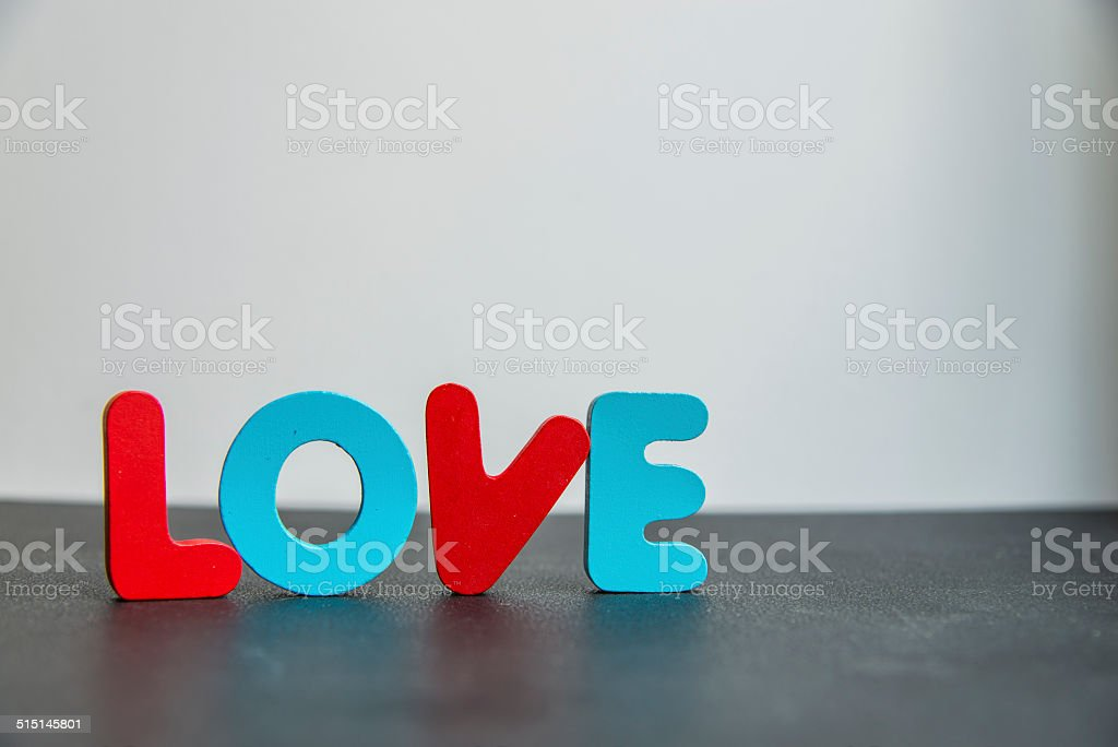 Colorful Wooden word love with white background1 stock photo
