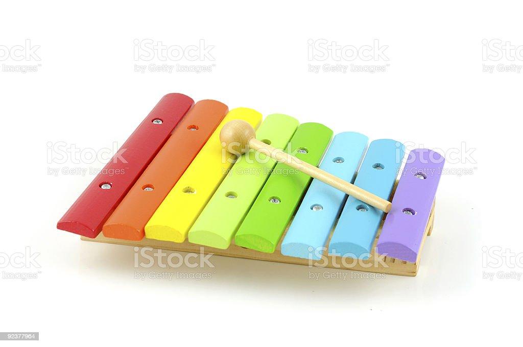 Avec bâton en bois coloré xylophone photo libre de droits