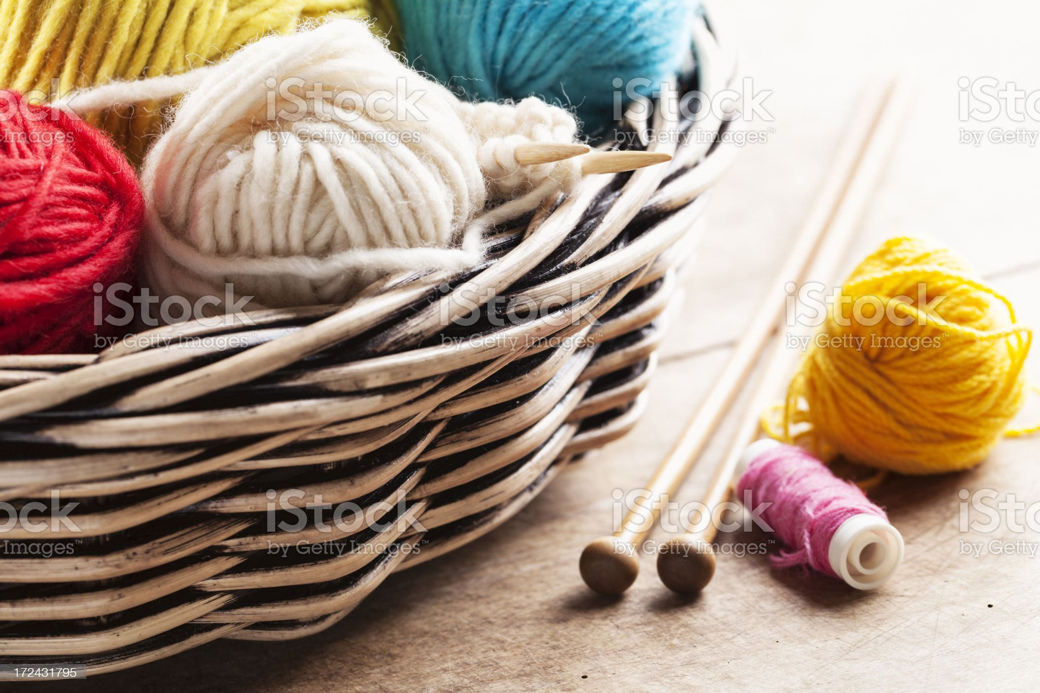 colorful wool for knitting craft royalty-free stock photo