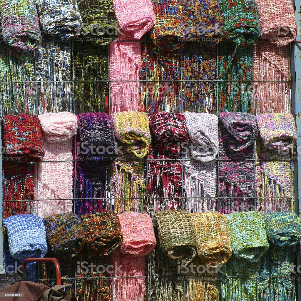 colorful wool for sale on markel stock photo