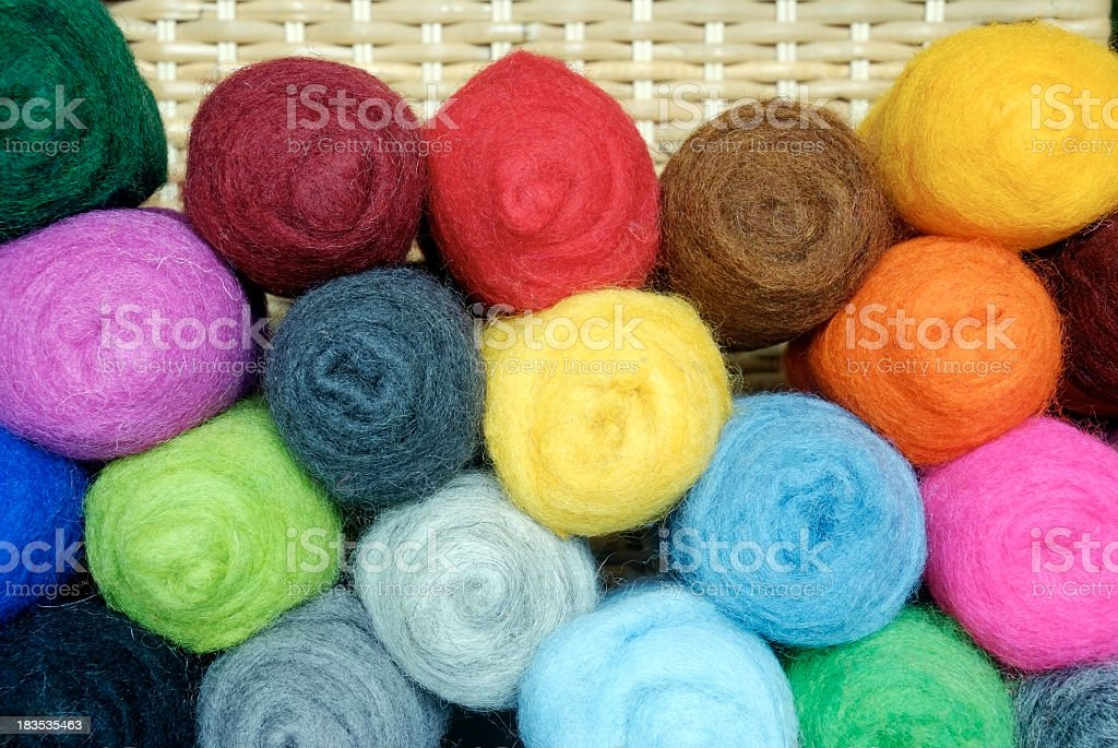 Colorful wool in front of a basket stock photo