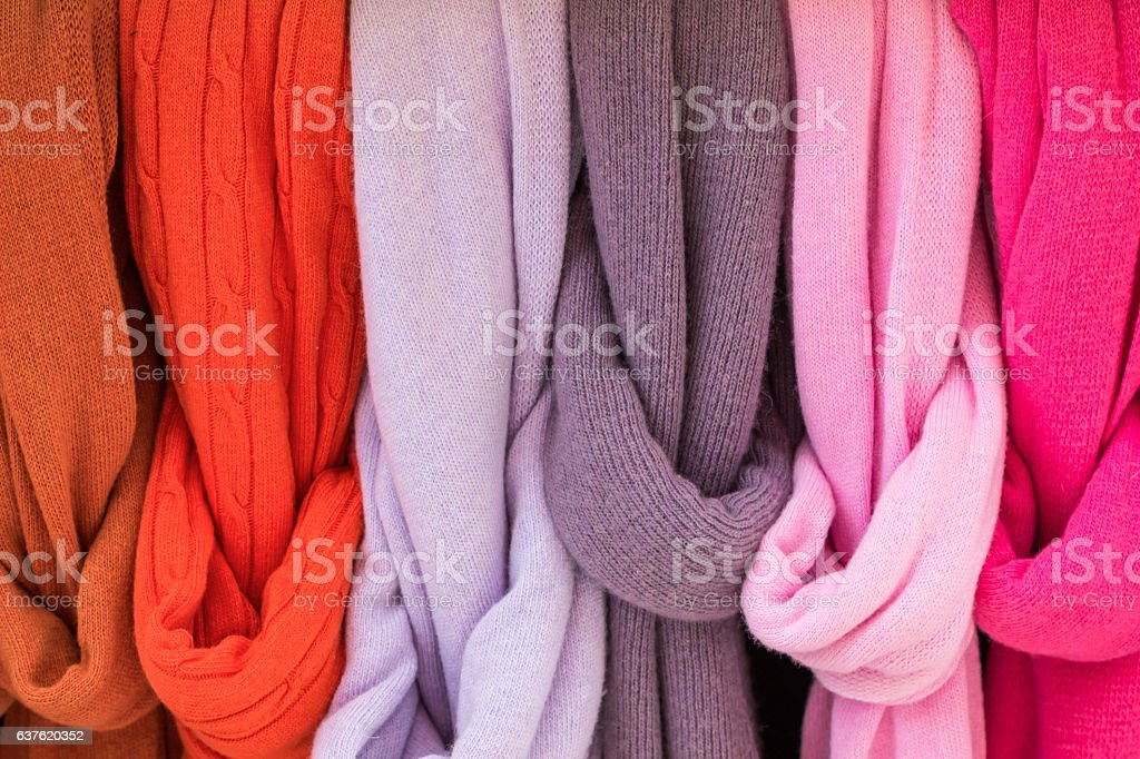 Colorful Wool scarf background. stock photo