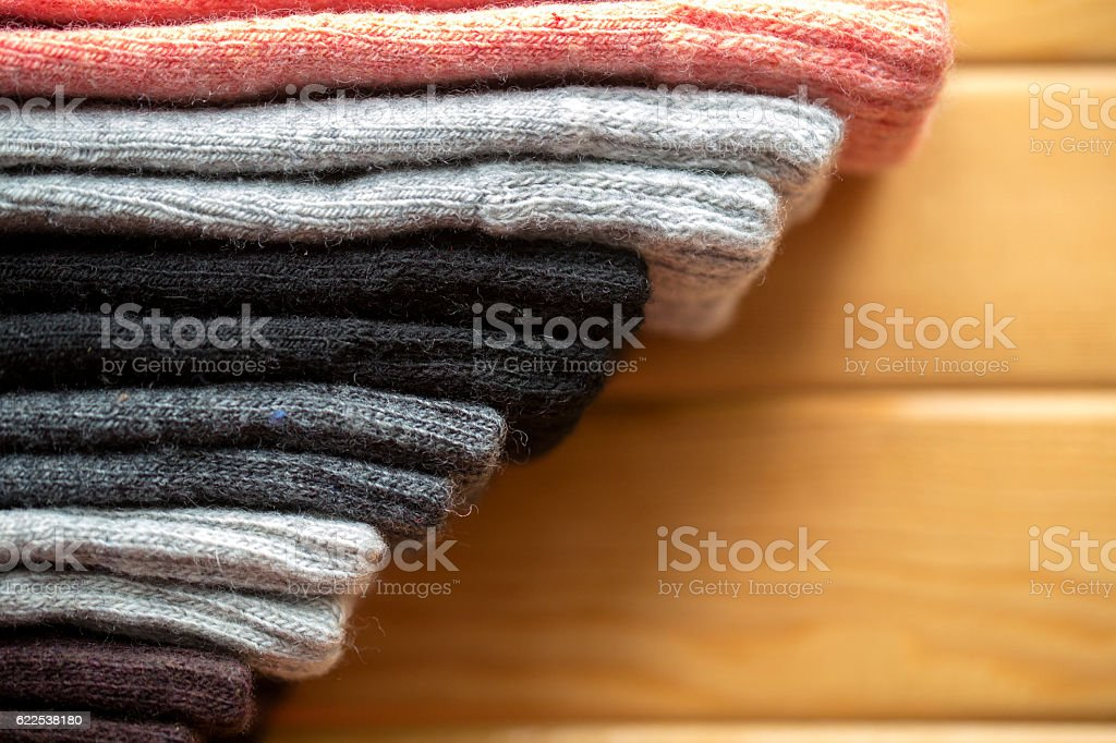 colorful woolen woven socks stock photo