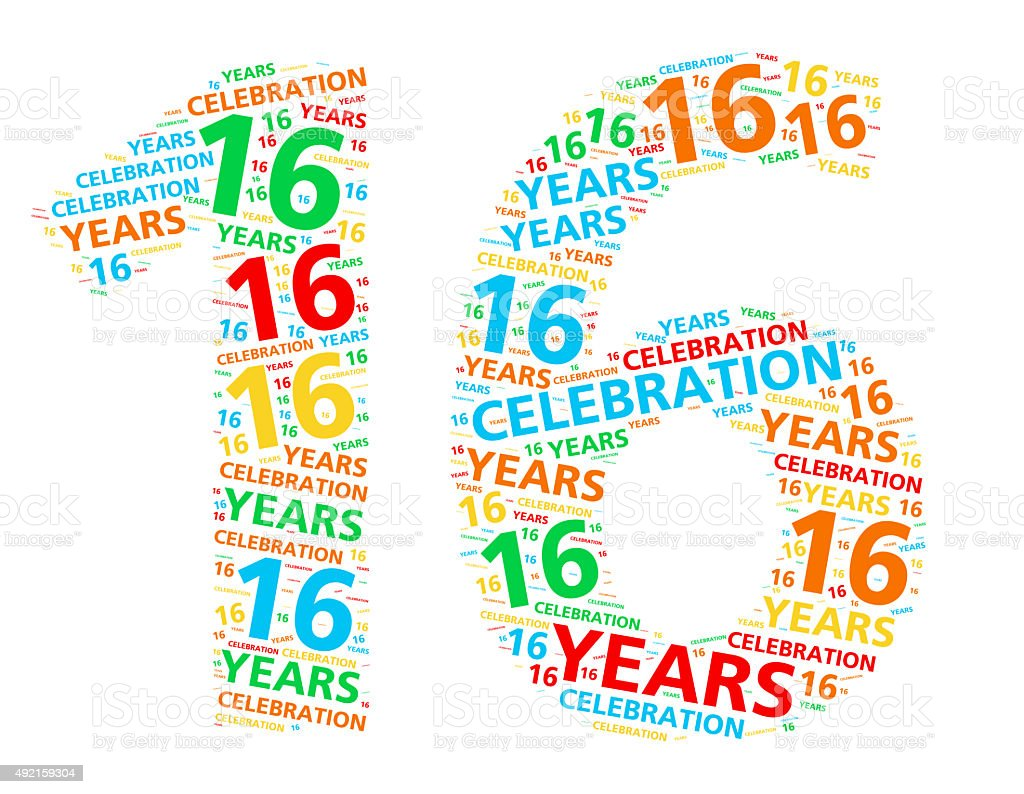 Colorful word cloud for 16 year birthday or anniversary stock photo