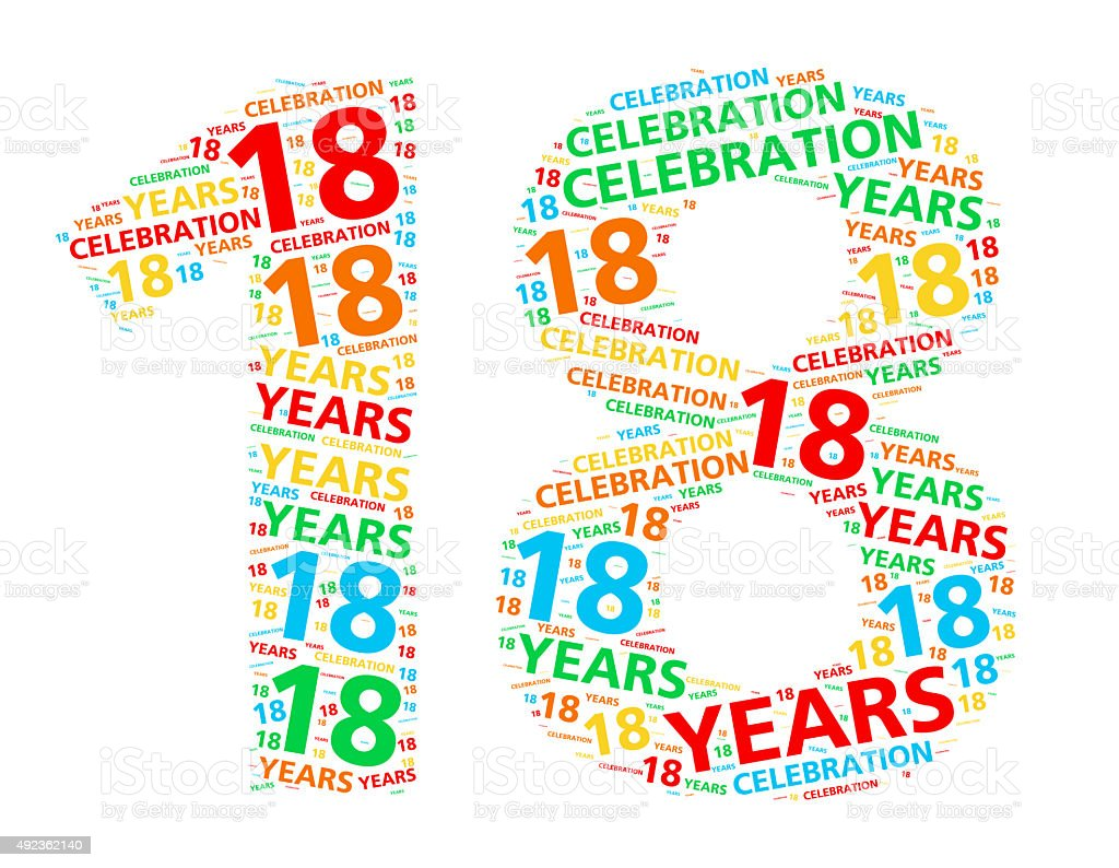Colorful word cloud for 18 year birthday or anniversary stock photo