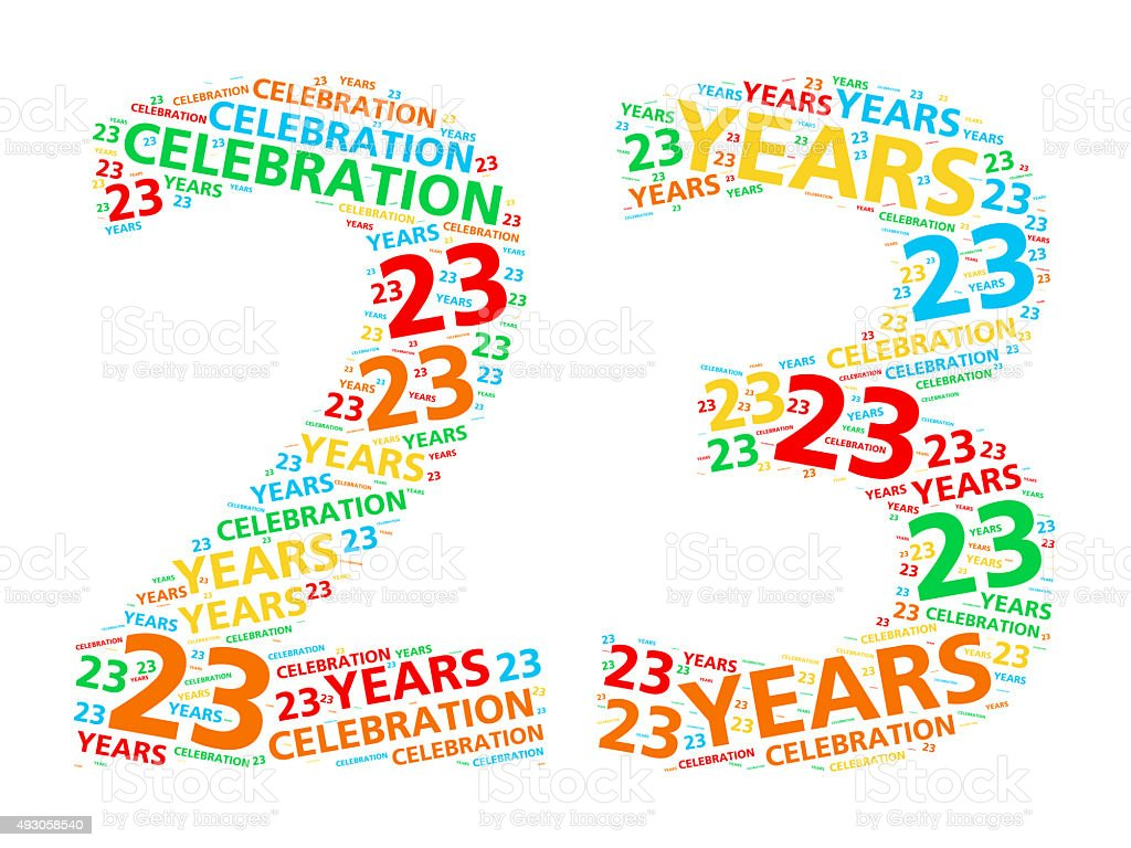 Colorful word cloud for 23 year birthday or anniversary stock photo