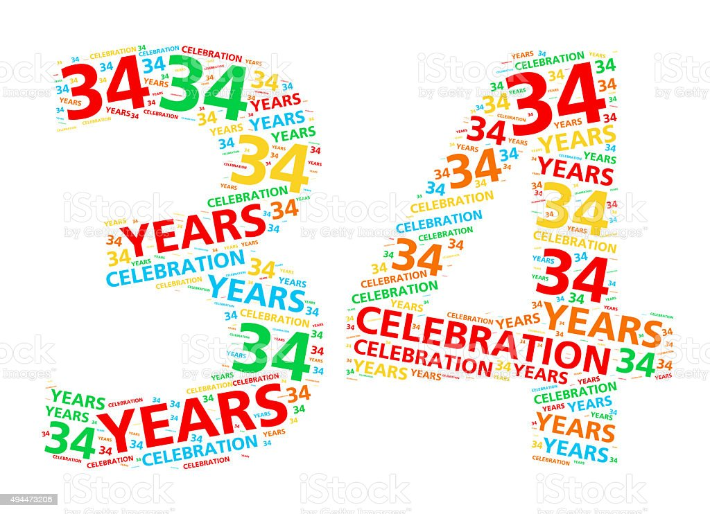 Colorful word cloud for 34 year birthday or anniversary stock photo