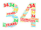 Colorful word cloud for 34 year birthday or anniversary