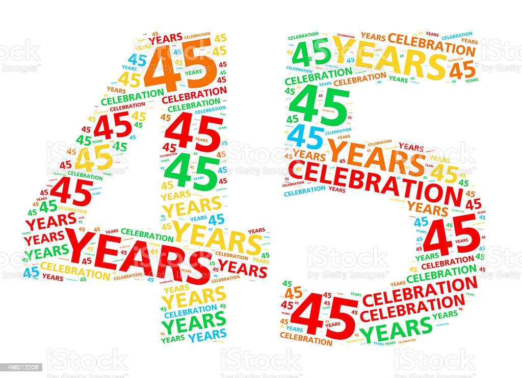Colorful word cloud for 45 year birthday or anniversary stock photo