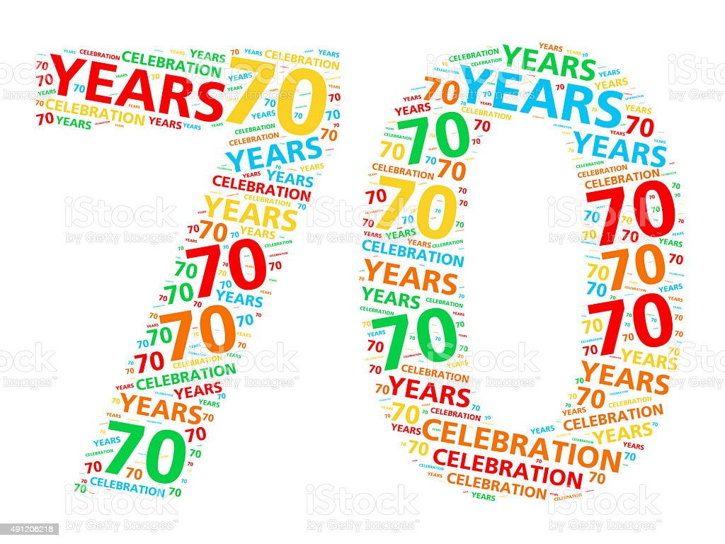 Colorful word cloud for 70 year birthday or anniversary stock photo