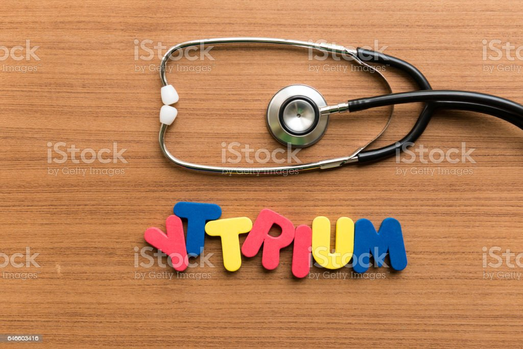 colorful word with stethoscope on wooden background stock photo