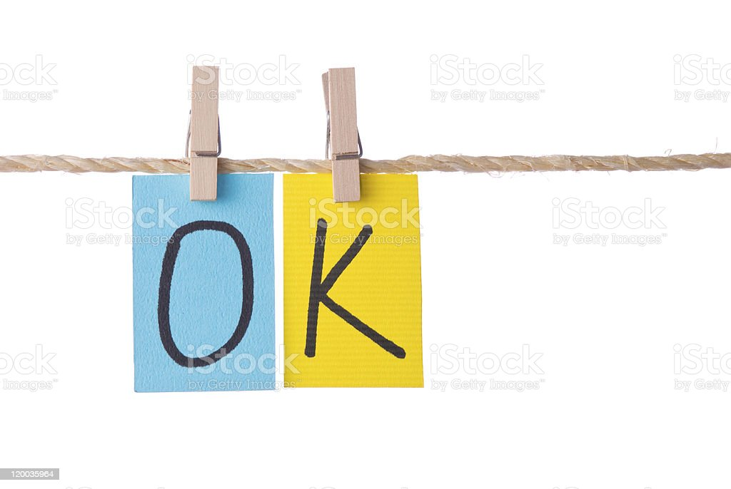 OK Colorful words hang on rope royalty-free stock photo
