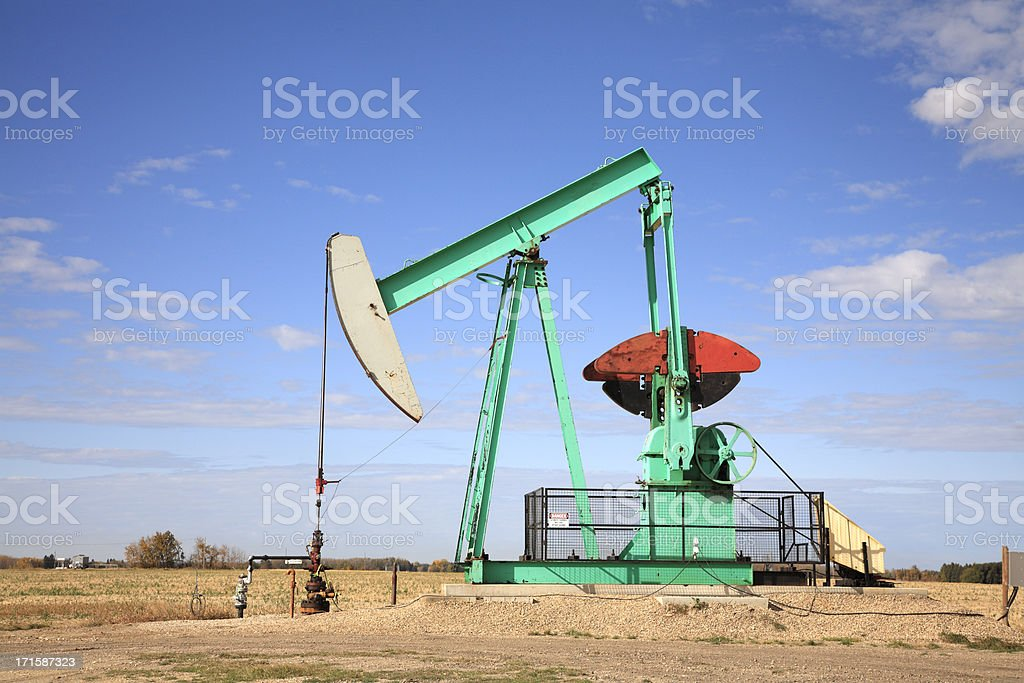 Colorful Working Pumpjack royalty-free stock photo