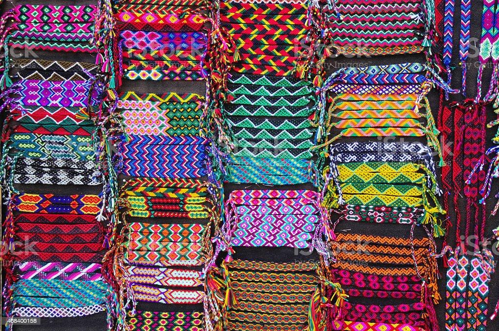Colorful woven bracelets, Latin America stock photo