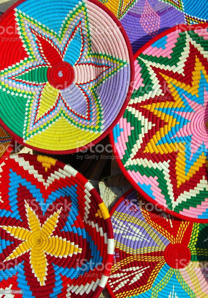 Colorful woven plates of Ethiopia stock photo