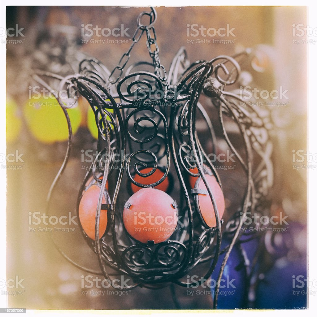 Colorful Wrought Iron Lamps in Marrakech, Morocco stock photo