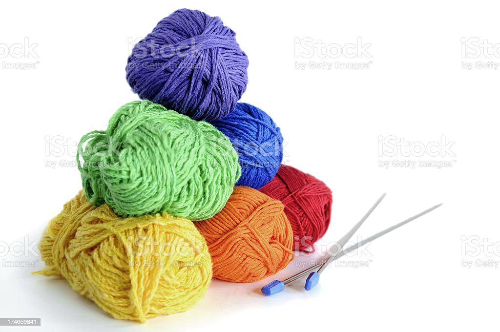 Colorful yarn and needles, shallow DOF stock photo