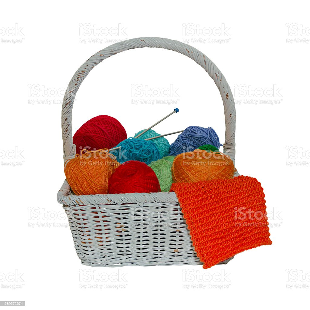 Colorful yarn balls in a straw basket isolated on white stock photo