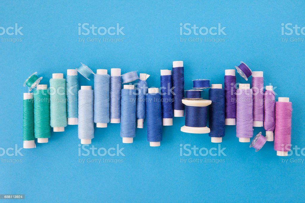 Colorful yarn for sewing stock photo