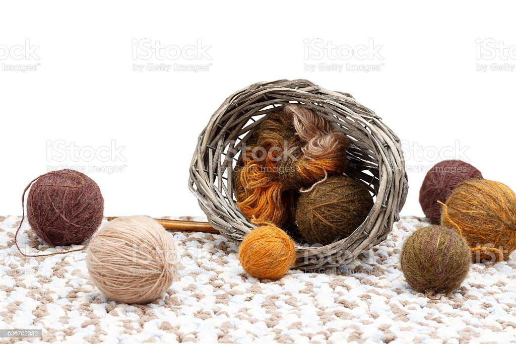Colorful yarn in overturned braided basket. isolated on white background stock photo