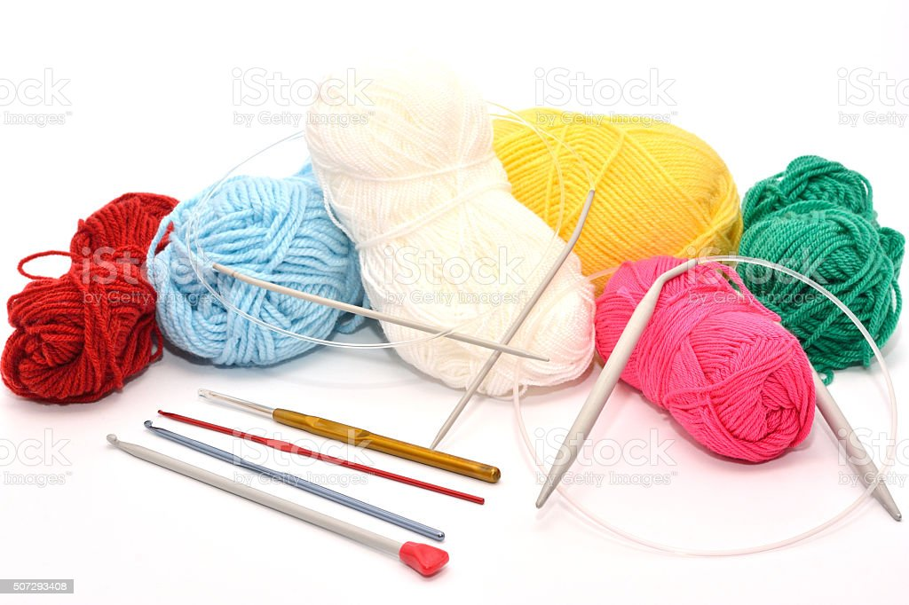Colorful Yarn With Many Needles stock photo