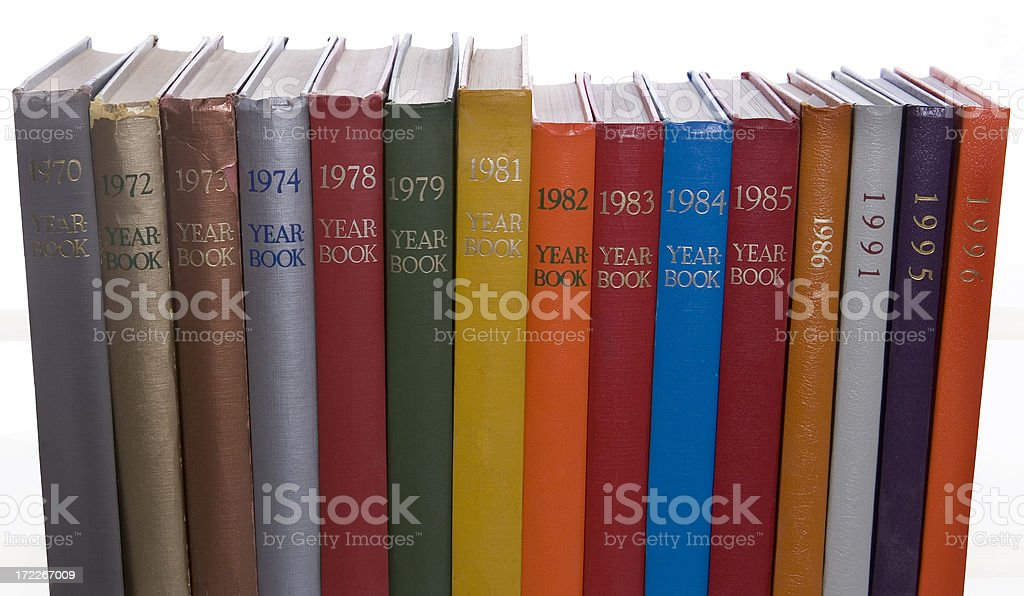 colorful yearbooks royalty-free stock photo