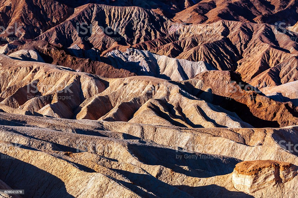 Colorful Zabriskie Point, Death Valley,Mojave Desert, California, USA stock photo