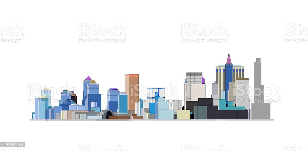 colorfull Big city skyline in white backfround stock photo