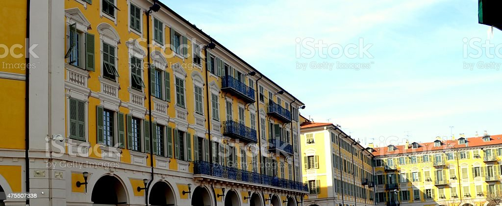 colorfull buildings in Nice's old town stock photo