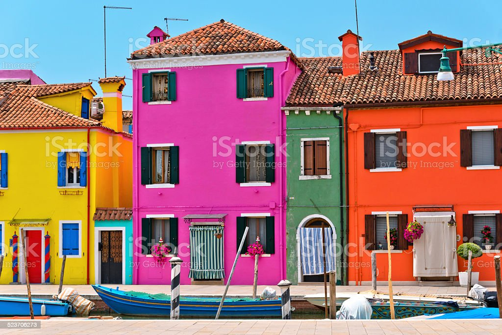 colorfull Burano near Venice stock photo